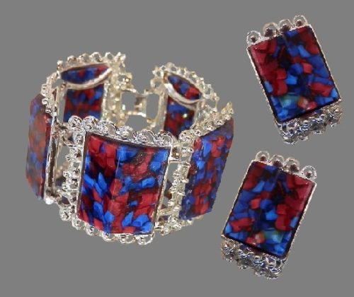 1960's Colorful Confetti Silver Tone Bracelet and earrings