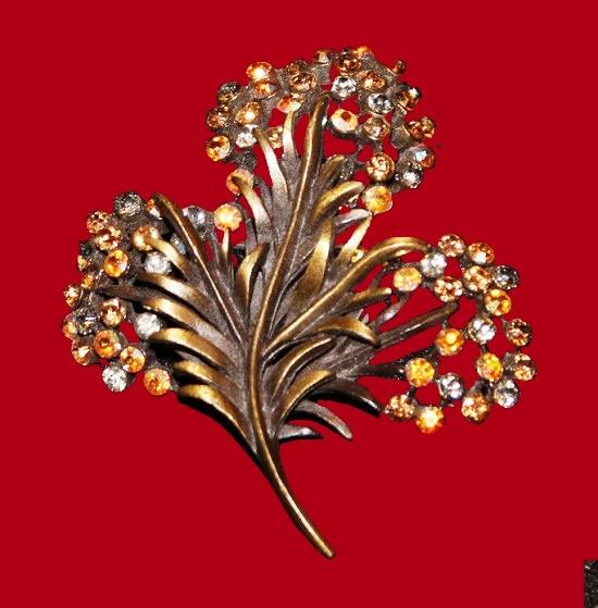 Amber rhinestone fern brooch