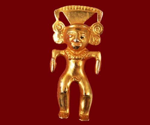 'Ancient Maya' vintage gold tone pendant. 1970s 7.3 cm