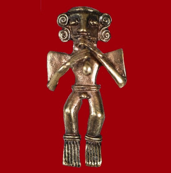 'Ancient musician' vintage brooch. 1970s 6 cm. Made of made of matte gold alloy in the form of an aztec playing Kena - ancient wind instrument