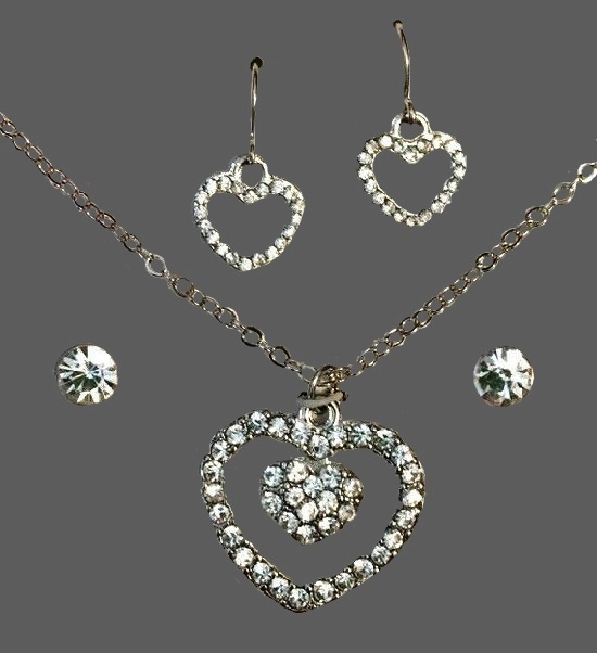 April Birthstone heart shaped necklace and earrings jewelry set