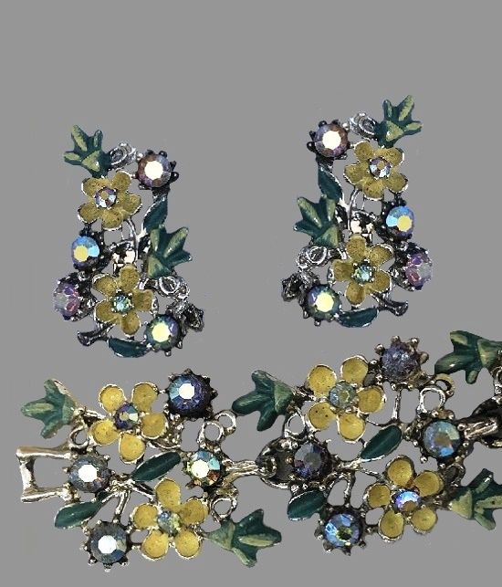 Aurora borealis rhinestone floral bracelet and earrings. Jewelry alloy, green and yellow enamel