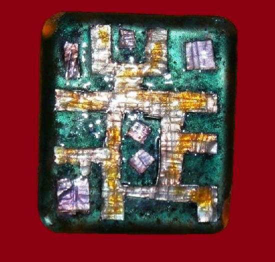 Avraham and Pnina Gofer enameled abstract design brooch pin