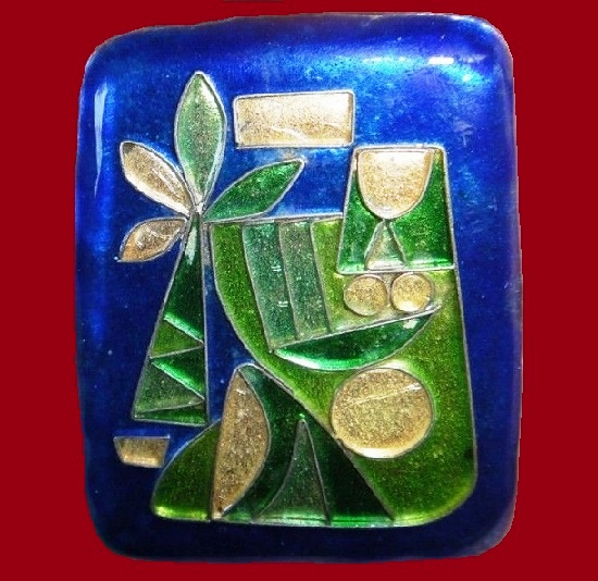 Avraham and Pnina copper and silver enamel pin. Designed by Aharon Kahana, Israel