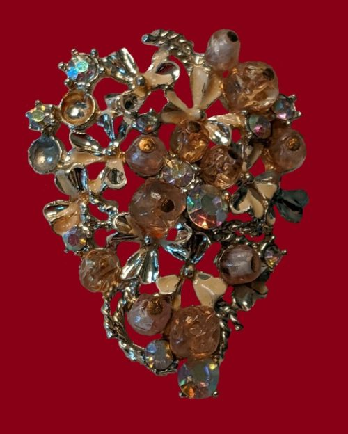 Beautiful flower bouquet brooch. Jewelry alloy, rhinestones