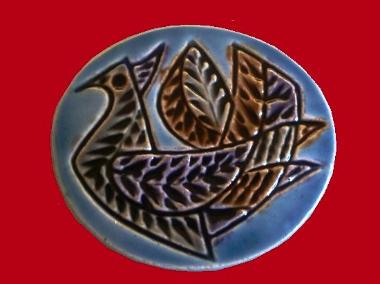 Bird pendant pin, ceramic art. 6 cm