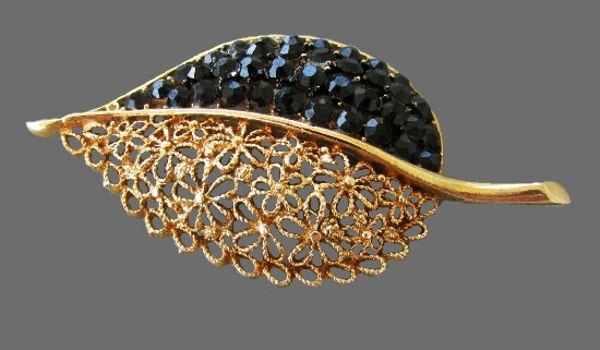 Black rhinestone and clear crystal filigree gold tone Leaf brooch