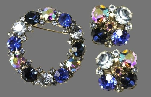 Blue rhinestone and crystalpin and clips