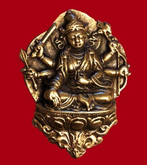 Buddha gold tone brass brooch
