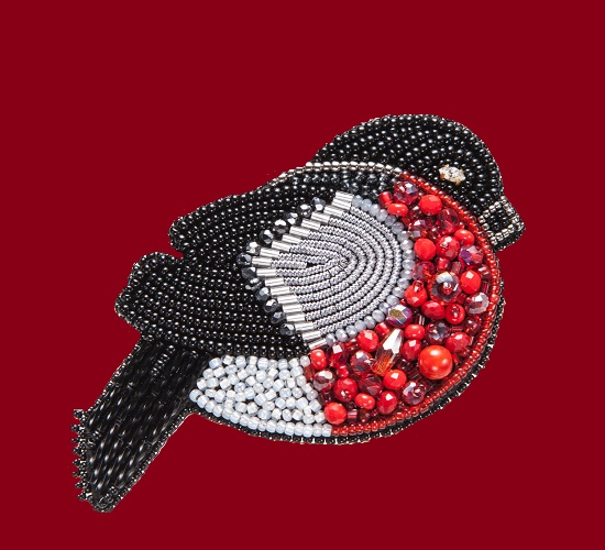 Bullfinch brooch from the collection 'New Year'. Japanese beads, Czech beads, faceted beads, felt, natural suede,