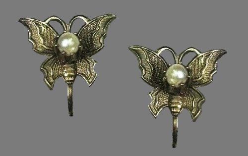 Butterfly earrings. Textured metal, faux pearls