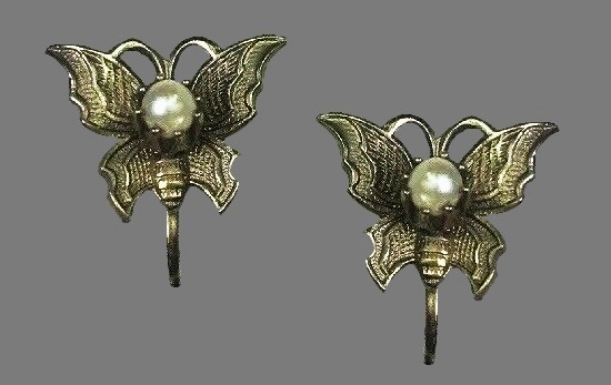 Butterfly earrings. Textured metal, faux pearls