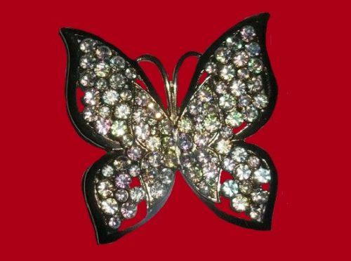Butterfly pin brooch, silver tone metal, rhinestones