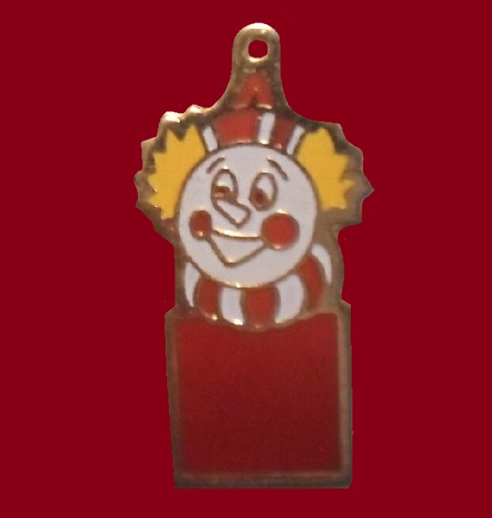 Clown Gold Tone Charm Pendant 1971-1972
