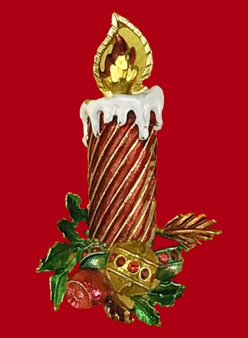 Candle Christmas brooch pin. Gold tone, rhinestones enamel