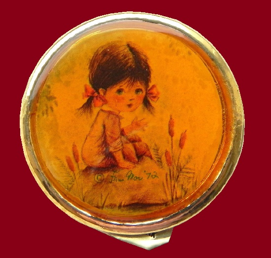 Charming round brooch with a girl. 4,5 cm. 1971
