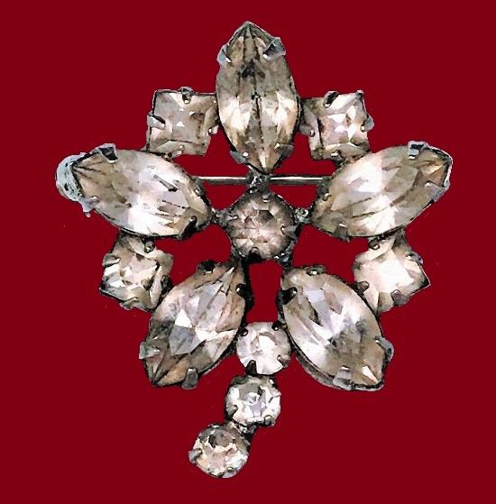 Clear Rhinestone Flower Brooch