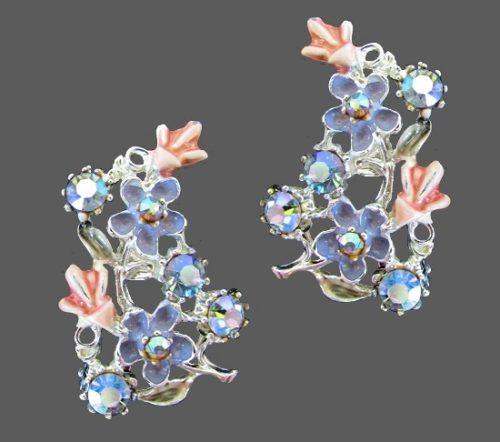Delicate blue enameled silver tone earrings, studded with aurora borealis rhinestones
