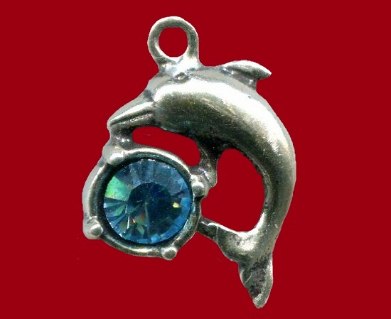 Dolphin with a blue gem charm
