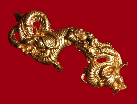 Dragon Menuki Sword Ornament Brooch Pin. Water Diety