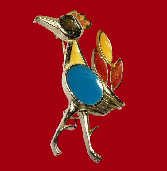 Exotic bird brooch pin. Gold tone, yellow, blue, red enamel