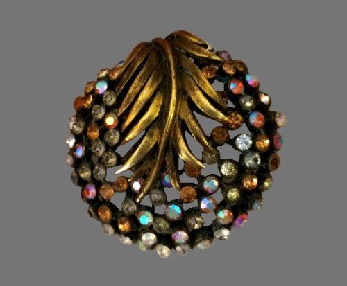 Fabulous leaf fern brooch of gold tone, clear rhinestones