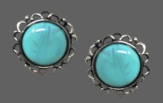 Faux turquoise cabochon stone clip on earrings