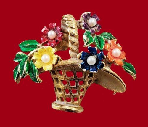 Flower basket brooch. Gold tone jewelry alloy, enamel, faux pearls