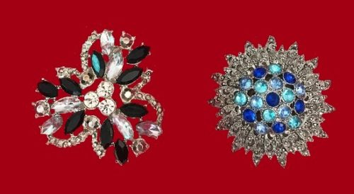 Flower shaped or ornamental brooches decorated with crystals and rhinestones