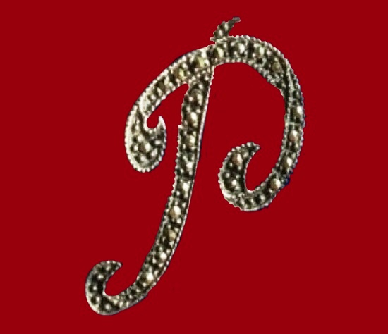 Genuine Marcasite Letter P Initial Pin Brooch, 925 Sterling Silver