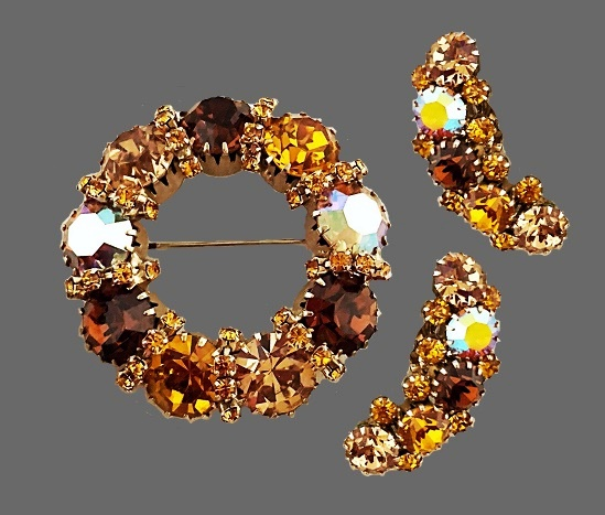 Gorgeous set of crystal wreath and clip on earrings