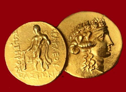 Greek Coins brooch. Gold tone metal. 5,5 cm