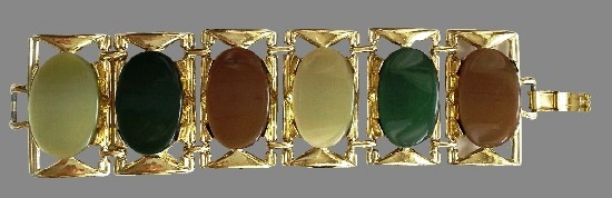 Green and brown lucite gold tone metal bracelet