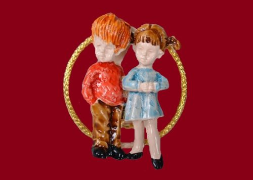 Happy Childhood series of brooches. 1970s. Jewelry alloy, enamel