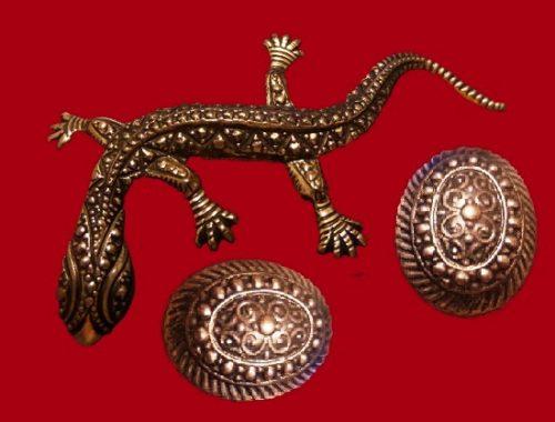 Lizard pin and earrings set. Vintage sterling silver