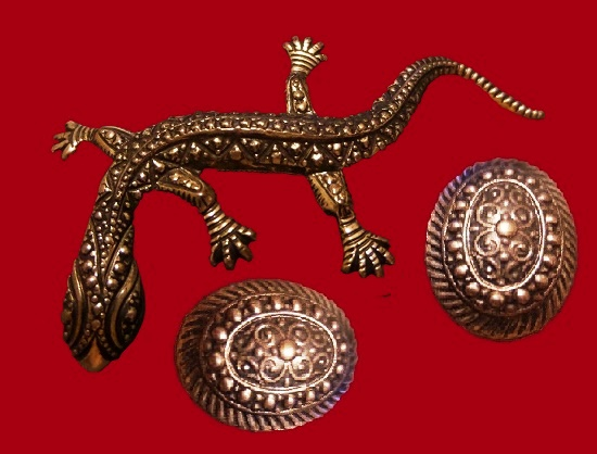 Lizard pin and earrings set. Vintage sterling silver