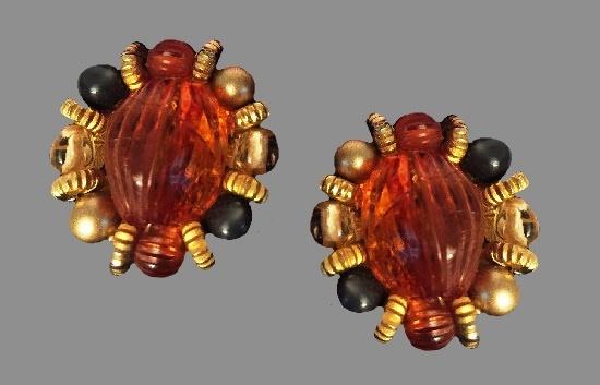 Lucite beaded clip earrings