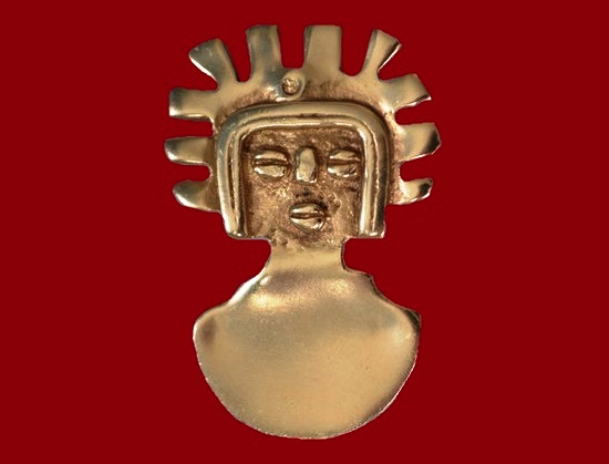 'Man of the sun' vintage brooch. 1970s 4.3 cm