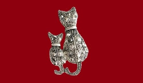 Mother cat and kitten silver tone brooch
