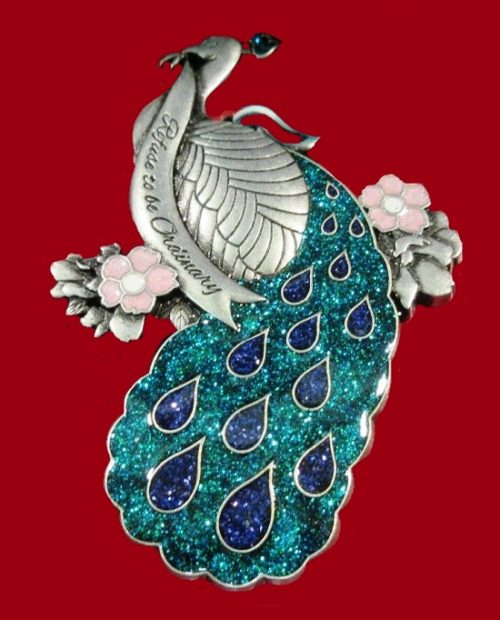 Peacock pendant brooch from the series of Christmas decorations. 2016