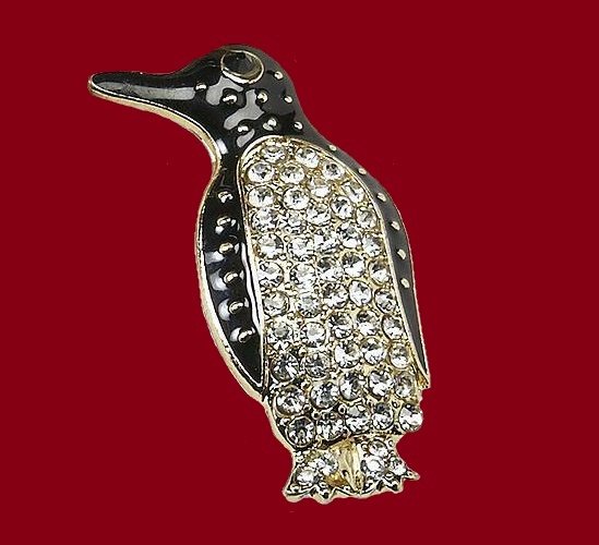 Penguin brooch decorated with black enamel and rhinestones