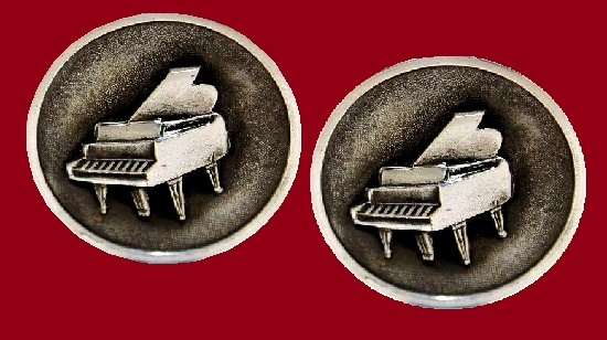 Piano sterling silver Cufflinks. 1950s