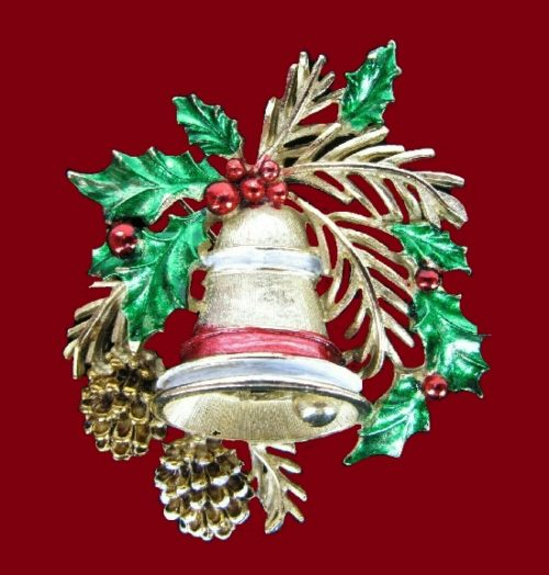 Pine cone Christmas bell brooch of gold tone, white and red enamel