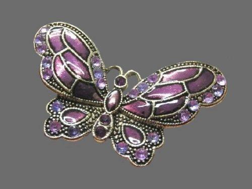Purple butterfly brooch. Enamel, silver tone metal, rhinestones