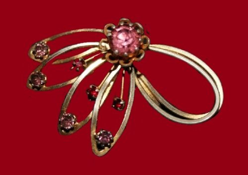 Red and purple rhinestones gold tone pin