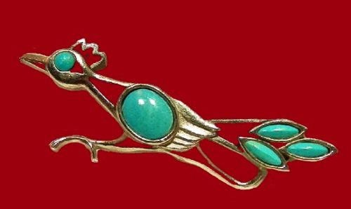 Road Runner turquoise lucite brooch. 1960's