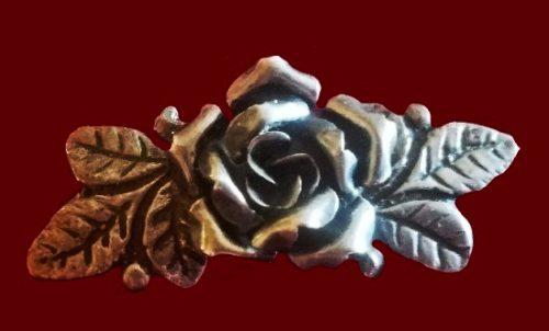 Rose sterling silver brooch