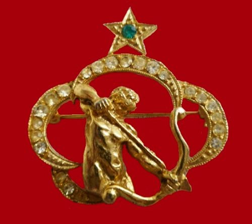 Sagittarius archer Zodiac sign brooch pin of gold tone, rhinestones