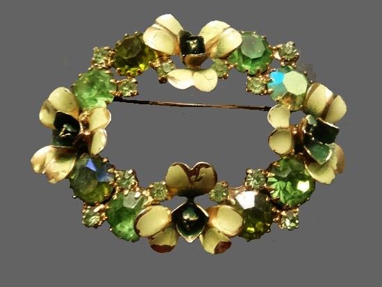 St. Patrick's Day brooch. Green rhinestones, gold tone metal, enamel
