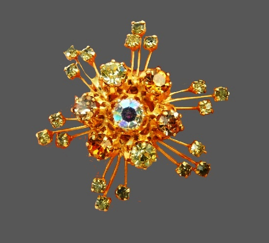 Starburst Aurora Borealis Crystal Rhinestone Brooch Gold Tone